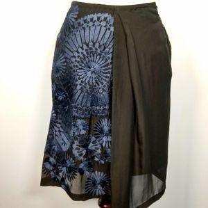 Dries Van Noten silk embroidered skirt 34